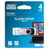 Goodram USB flash disk, 2.0, 4GB, čierny, UTS2-0040K0R11, podpora OS Win 7